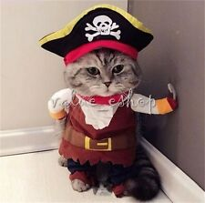 Pet Small Dog Cat Pirate Costume Outfit Jumpsuit Clothes Halloween Christmas S