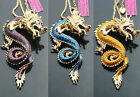 #614 New Fashion Bling Crystal Enamel Dragon Pendant Sweater Chain Necklaces