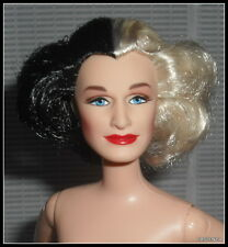 NUDE BARBIE (B) CELEBRITY GLENN CLOSE CRUELLA DEVIL BLACK/WHITE BLUE EYES DOLL