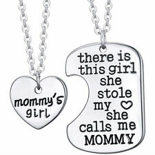 2 x Silver Heart and Twin Dog Tag MOMMYS Girl Pendant Necklace Gift set