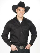 NEW! MEN'S Solid Color Western Show Shirt Black Red White Royal Denim Size S-4XL