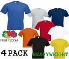 4 MENS FRUIT OF THE LOOM HEAVY COTTON T SHIRTS, CHOOSE YOUR PACK COLOUR & SIZE