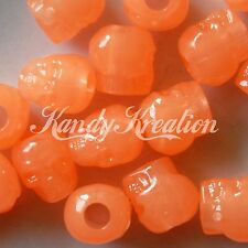 100 Orange Glow in the dark Skull pony beads for kandi Scout Survival Paracord