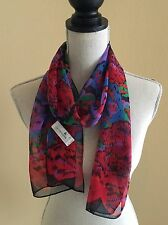 Liz Claiborne 1992 Colorful Abstract Floral Polyester 13 x 58 Long Scarf