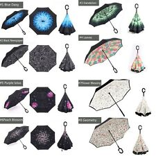 Inverted Folding Handle Self Stand Umbrella Windproof Double Layer Upside Down