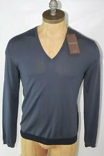 AUTH $895 Gucci Men Navy Web V Neck Wool Sweater XL