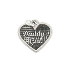 STERLING SILVER ONE SIDED DADDY'S GIRL HEART CHARM PENDANT