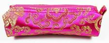 Make-Up Cosmetics Bag Magenta & Gold Embroidered Fabric, Womens Makeup Storage