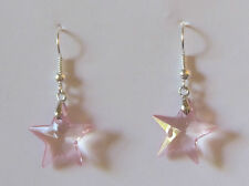 STAR EARRINGS PINK ACRYLIC CRYSTAL AND SILVER PLATED WIRES