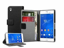Wallet BLACK Leather Case Cover Pouch For Mobile Phone Sony Xperia Z3 experia