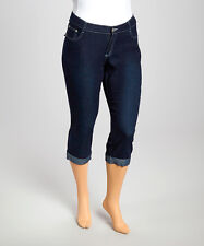 1826 Jeans Cuffed Capri Pants~Dark Blue Denim~5 Pocket~NWT~Womens Size 18