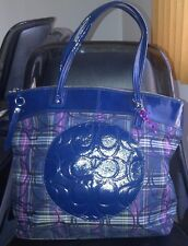 AUTH COACH LAURA SIGNATURE TARTAN PLAID LARGE BAG TOTE PURSE F20109 NAVY/BERRY
