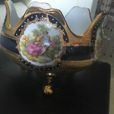 Fragonard Limoges Design Beautiful Cobalt Gold Vase Love Story