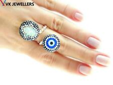 TURKISH 925 STERLING SILVER OPAL HAMSA EVIL EYE ADJUSTABLE RING  VK62