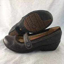 Clarks Unstructured Brown Leather Mary Jane Slip - Women's Size 7.5 - Excellent