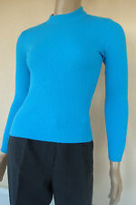 PULL TOP BLEU TURQUOISE MANCHES LONGUES T 38/40 STRETCH NEUF