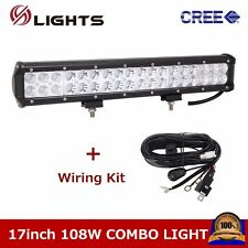 17inch 108W CREE LED LIGHT BAR FOG JEEP SUV ATV VEHICLE COMBO With Wiring 9000LM