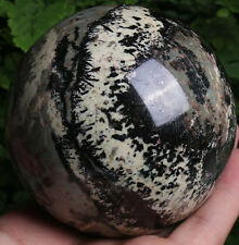 928g Epidote & Black Tourmaline & Calcite Crystal Sphere Ball From Tibet J380