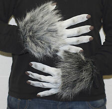 GREY WEREWOLF LATEX GLOVES, HALLOWEEN FANCY DRESS SCARY WOLF WAREWOLF DOG PAWS