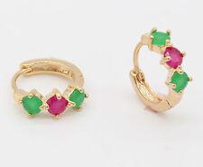Hot! Natural Ruby Emerald 18K Gold Filled Hoop Earrings Women Wedding Jewelry
