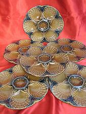 6 assiettes à huitres coquillages faïence barbotine SARREGUEMINES