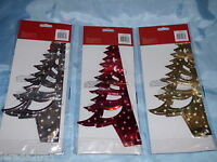 FOIL HANGING PRINTED CHRISTMAS TREE DECORATION 3 DESIGNS GOLD RED SILVER 30CM