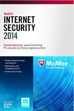NEW! McAfee Internet Security 3PCs 2014 - Free Upgrade to 2016 - 3 PCs