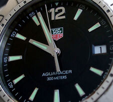 TAG HEUER MEN AQUARACER WATCH 300 METER BLACK DIVING SPORT W/STRAP WAF1110
