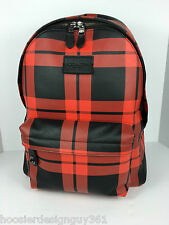 COACH F71821 Campus Laptop Backpack Book Bag Men's Leather Red Black Print NWT