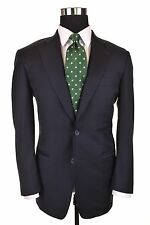 Samuelsohn Solid Navy Blue LORO PIANA S110's Twill Wool Sport Coat Jacket 38 S