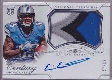 2014 National Treasures Eric Ebron On Card Auto 4 Color Patch Rc Serial # to 99