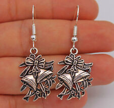 """925 Silver Plated Hook - 1.7"""" Eu Christmas Bell Bow-knot Lady Party Earrings A07"""