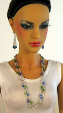 """Silver Filled Blue/Green Jewelry for 16"""" Fashion Doll Ellowyne Tonner JamieS"""