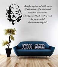 Marilyn Monroe Dont Deserve Me Wall Art Sticker Quote Decal Vinyl Transfer