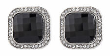 CLIP ON EARRINGS silver vintage earring with a black stone & crystals - Wendy
