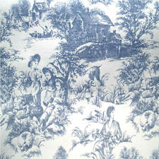 Drapery Upholstery Fabric Blue Toile on White Background