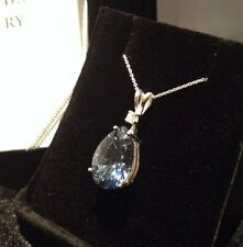 BEAUTIFUL 8ct Iolite & White Sapphire Sterling Silver Pear Pendant Necklace 18""