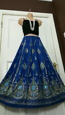 Ladies Indian Party Boho Hippie Long Sequin Skirt Rayon in ROYAL BLUE colour