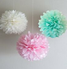 Set of 3 Tissue Paper Pompoms Wedding Party Hanging Decoration Pink Mint White