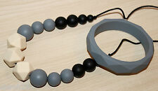 Nursing Necklace Teething Jewelry Chewelry Baby Teether Gray Black and Bracelet