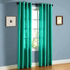 2PCS MIRA TEAL  green SOLID GROMMET FAUX SILK WINDOW CURTAINS PANELS 95""