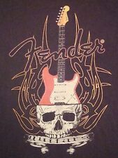 Fender Guitars Electric Acoustic Bass Rock Music Skull Print T Shirt M