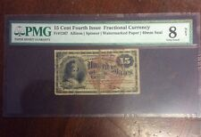 15 Cent Fourth Issue Fractional Currency Fr 1267 Allison | Spinner 40mm Red Seal