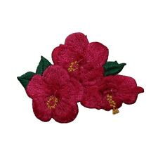 ID 6328 Red Hibiscus Flower Exotic Garden Embroidered Iron On Applique Patch
