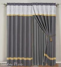 Gray Yellow Embroidery Curtain Panels Liner Tassels (complete set one window)