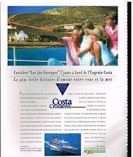 Publicité Advertising 1993 Costa Croisières