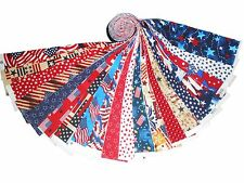 "20 1.5"" Quilting Fabric HONEY BUN Strips Patriotic Red White&Blue NOW !WOF-#2"