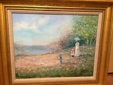 """ORIGINAL Oil Painting SIGNED Lrge 16""""x20 Rowenna Anderson Family Stroll Art work"""