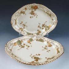 1885 Antique DERBY Pair Porcelain SERVING BOWLS Cream Raised Gold Royal Crown