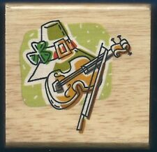 IRISH HAT VIOLIN Music Shamrock fun CANADIAN MAPLE COLLECTIONS NEW RUBBER STAMP